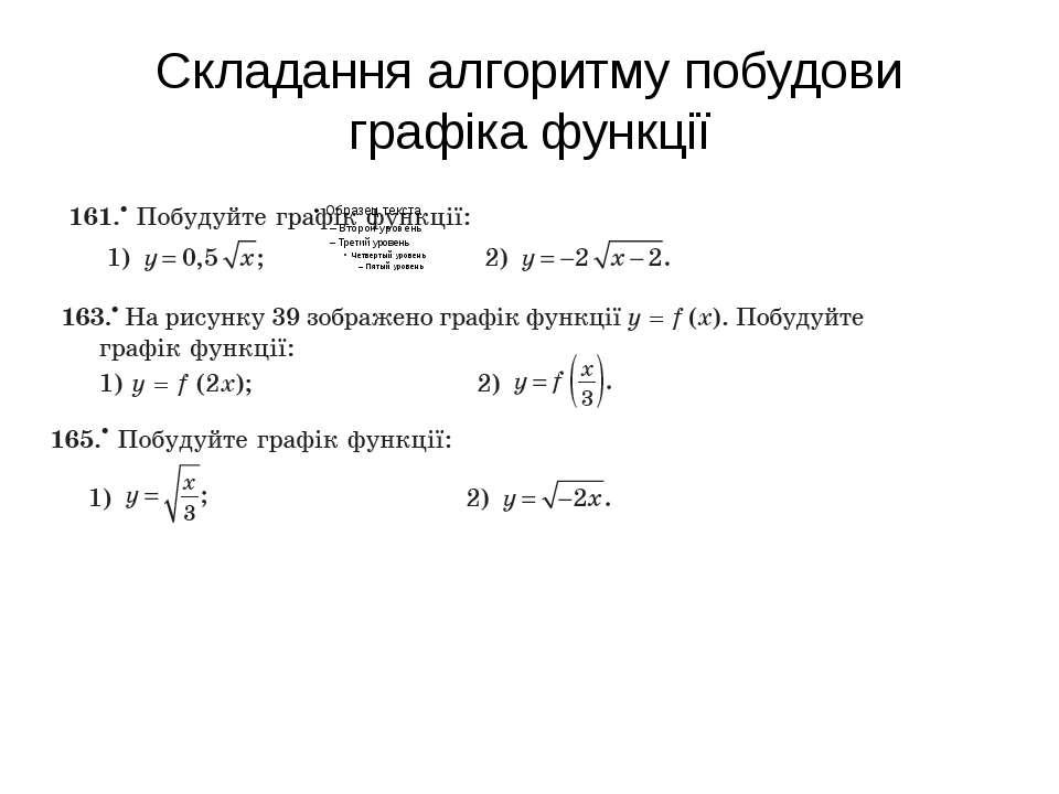 Складання алгоритму побудови графіка функції