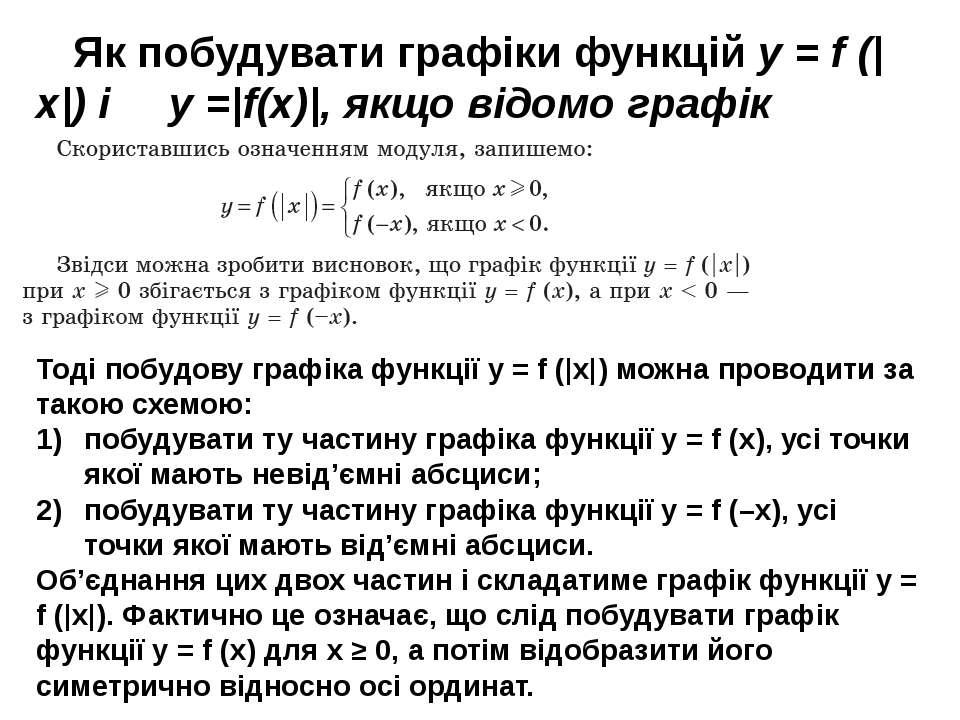 Як побудувати графіки функцій y = f (|x|) і y =|f(x)|, якщо відомо графік фун...
