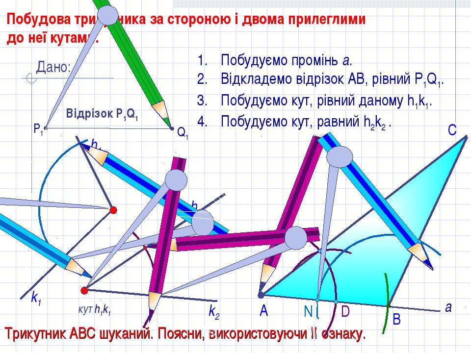 D С Побудова трикутника за стороною і двома прилеглими до неї кутами. кут h1k...