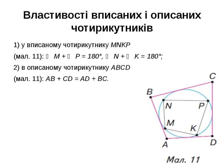 Властивості вписаних і описаних чотирикутників 1) у вписаному чотирикутнику M...