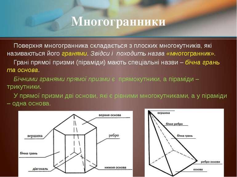 Поверхня многогранника складається з плоских многокутників, які називаються й...