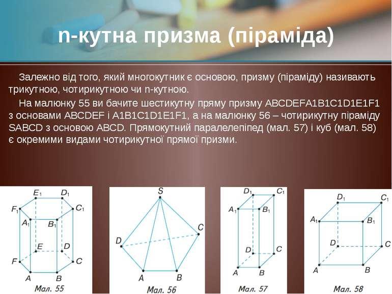 Залежно від того, який многокутник є основою, призму (піраміду) називають три...