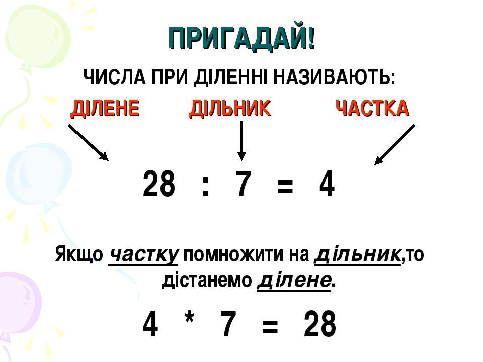 ПРИГАДАЙ! ЧИСЛА ПРИ ДІЛЕННІ НАЗИВАЮТЬ: ДІЛЕНЕ ДІЛЬНИК ЧАСТКА 28 : 7 = 4 Якщо ...