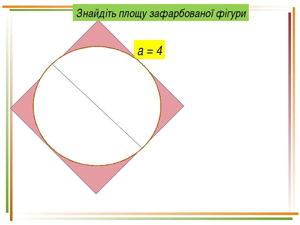 а = 4 Знайдіть площу зафарбованої фігури
