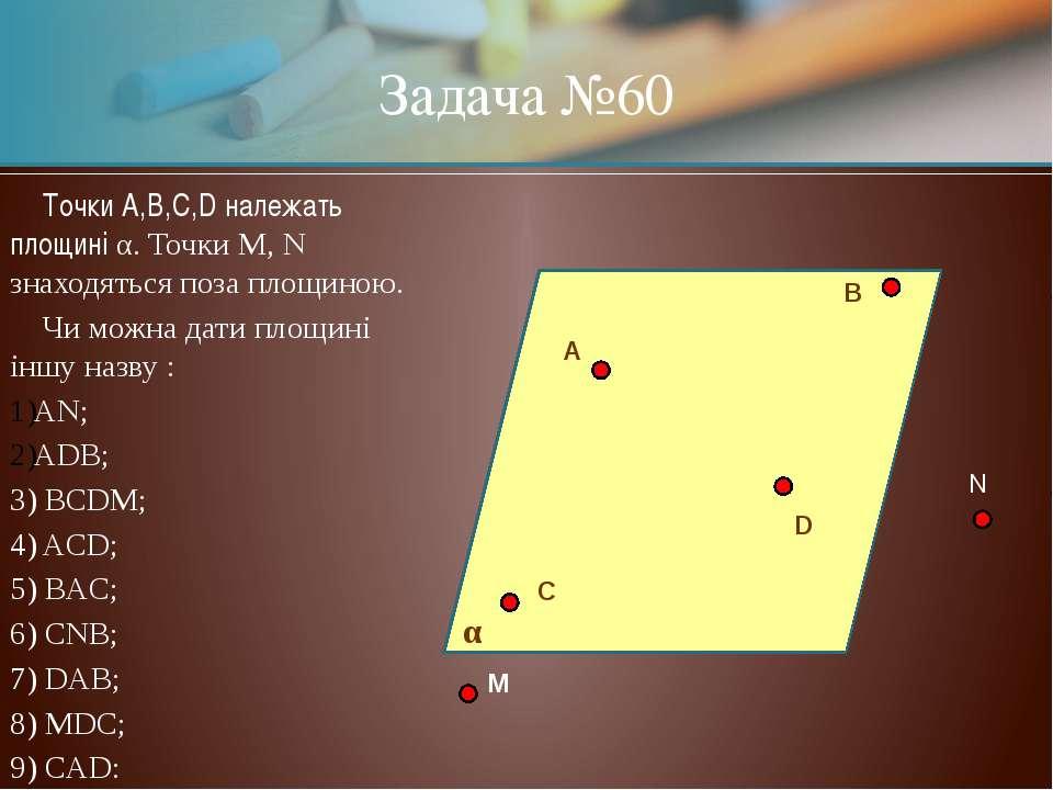 Задача №60 Точки A,B,C,D належать площині α. Точки M, N знаходяться поза площ...