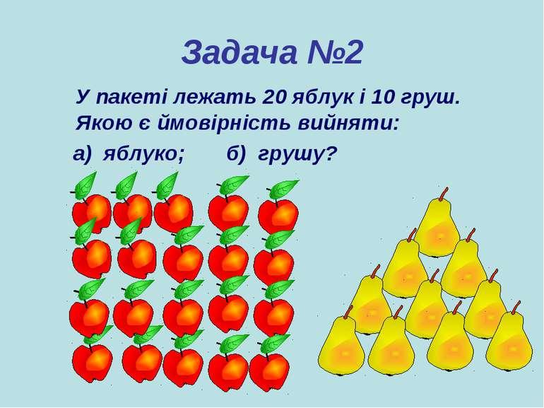 Задача №2 У пакеті лежать 20 яблук і 10 груш. Якою є ймовірність вийняти: а) ...