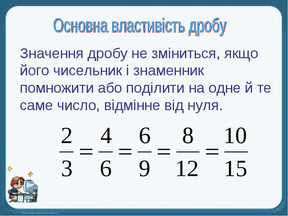 Значення дробу не зміниться, якщо його чисельник і знаменник помножити або по...