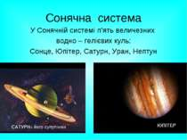 Сонячна система У Сонячній системі п'ять величезних водно – гелієвих куль: Со...