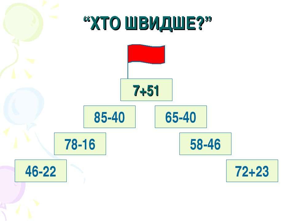 """""""ХТО ШВИДШЕ?"""" 7+51 65-40 85-40 58-46 72+23 78-16 46-22"""