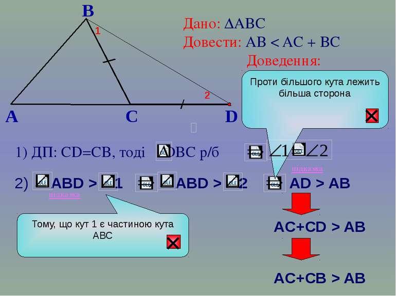B A C Дано: ∆АВС Довести: АВ < AC + BC Доведення: 1) ДП: СD=CB, тоді DВС р/б ...