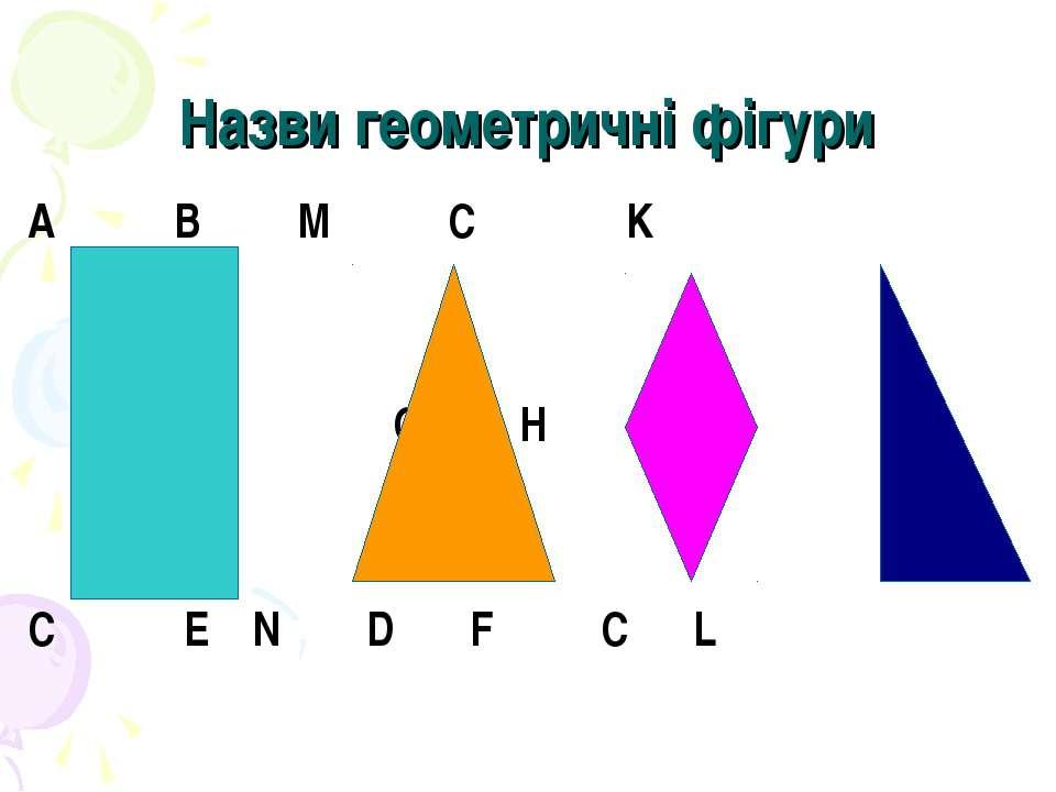 Назви геометричні фігури A B M C K O H C E N D F C L