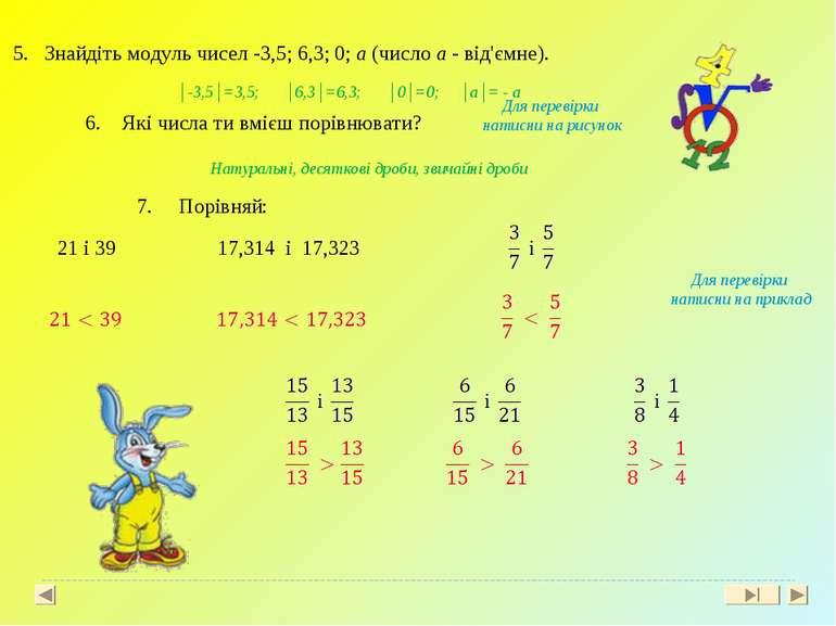 5. Знайдіть модуль чисел -3,5; 6,3; 0; a (число a - від'ємне). 6. Які числа т...