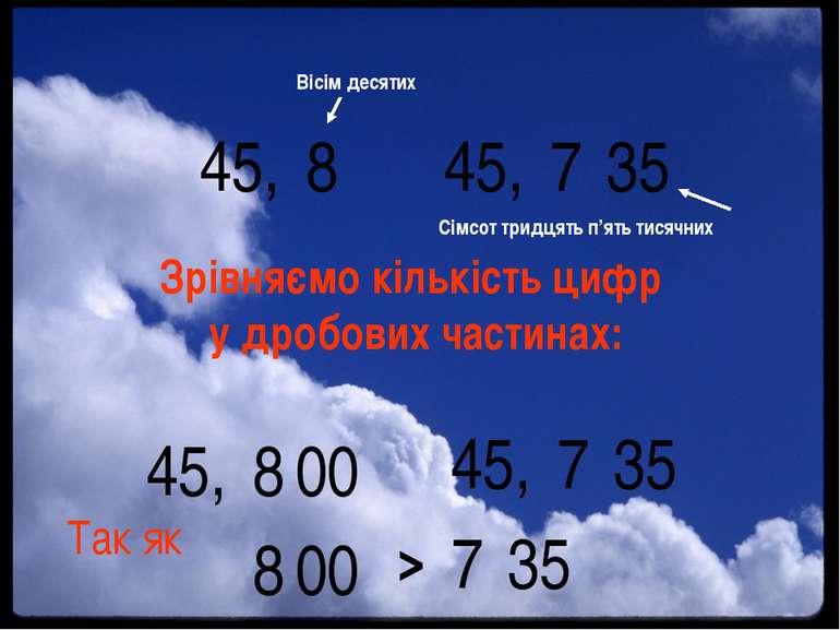 > 45, 7 35 45, 8 Вісім десятих Сімсот тридцять п'ять тисячних Зрівняємо кільк...