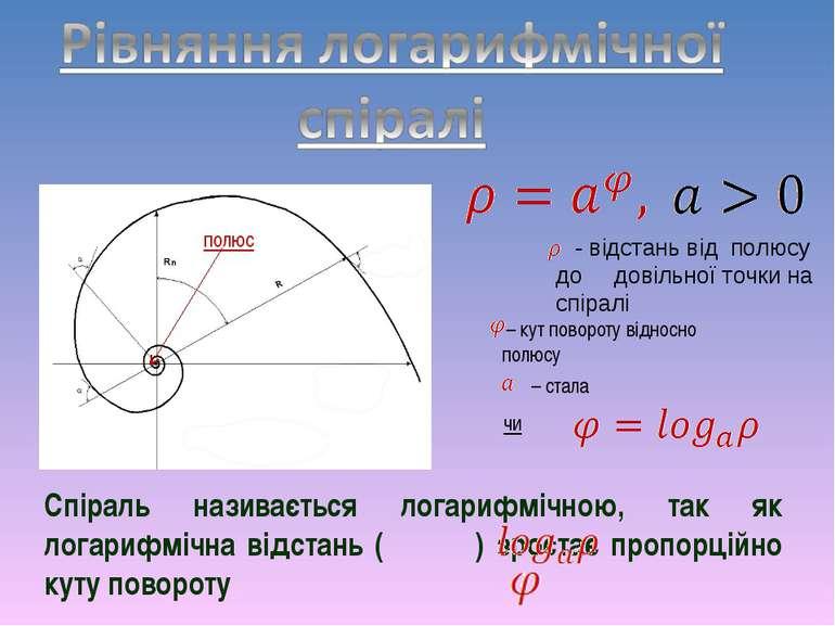 – кут повороту відносно полюсу чи - відстань від полюсу до довільної точки на...