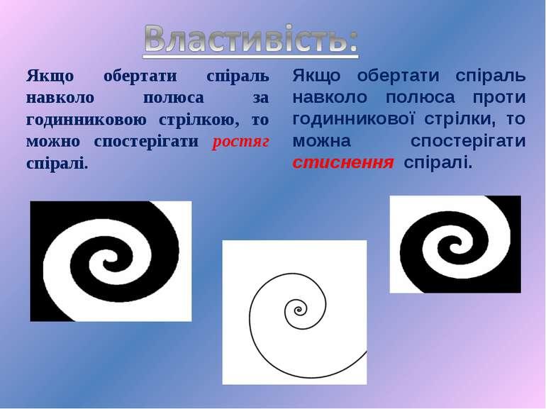 Якщо обертати спіраль навколо полюса за годинниковою стрілкою, то можно спост...