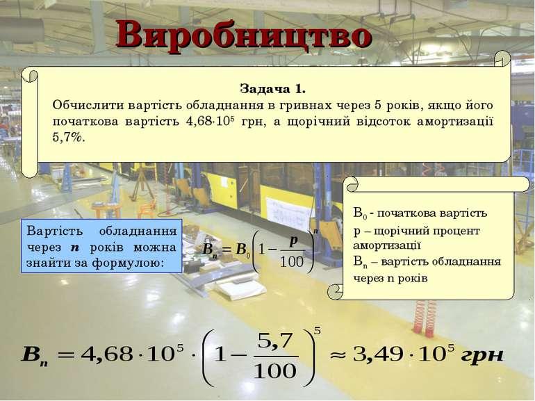 Виробництво Вартість обладнання через n років можна знайти за формулою: