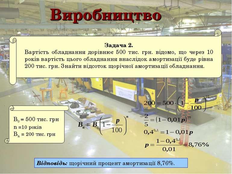 Виробництво Відповідь: щорічний процент амортизації 8,76%.