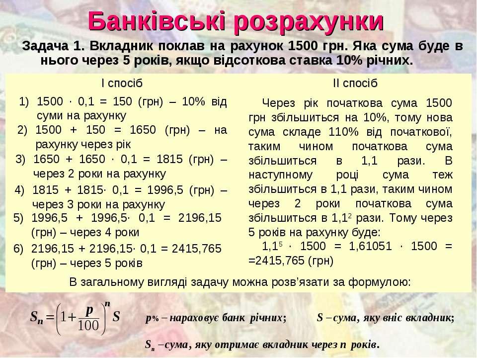 Банківські розрахунки Задача 1. Вкладник поклав на рахунок 1500 грн. Яка сума...