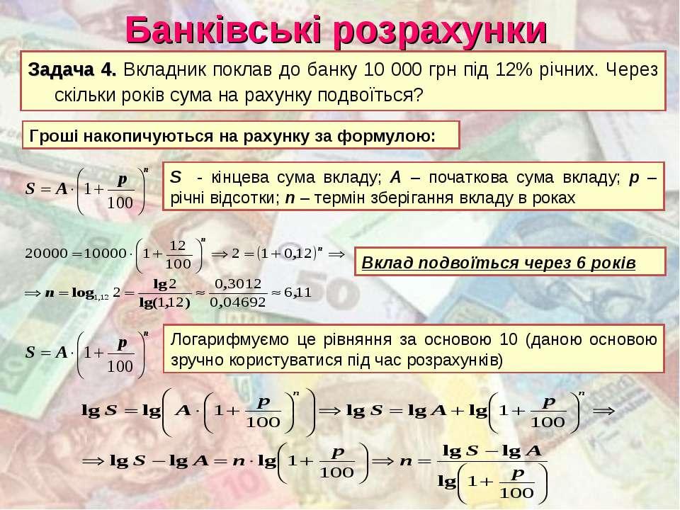 Банківські розрахунки Задача 4. Вкладник поклав до банку 10 000 грн під 12% р...