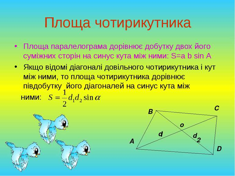 Площа чотирикутника Площа паралелограма дорівнює добутку двох його суміжних с...
