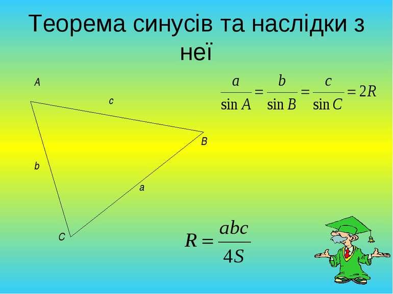 Теорема синусів та наслідки з неї
