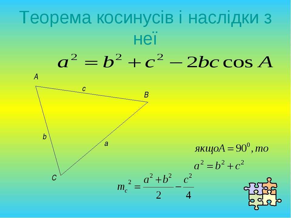 Теорема косинусів і наслідки з неї A B C a b c