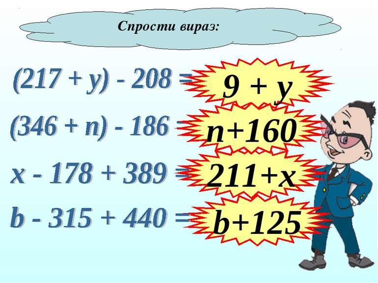 Спрости вираз: 9 + y b+125 211+x n+160