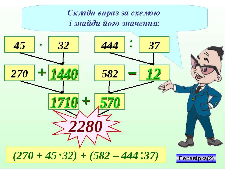 Склади вираз за схемою і знайди його значення: 45 270 32 444 37 582 2280 Пере...