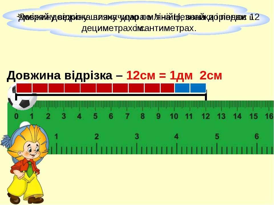Довжина відрізка – 12см = 1дм 2см
