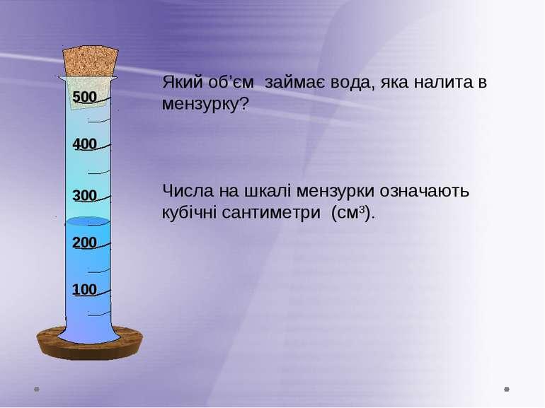 Який об'єм займає вода, яка налита в мензурку? Числа на шкалі мензурки означа...