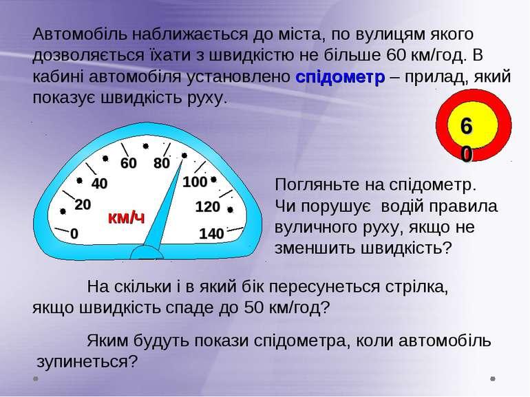 0 20 40 60 80 100 Автомобіль наближається до міста, по вулицям якого дозволяє...