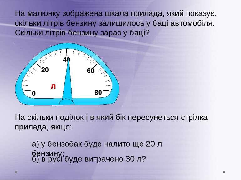 0 20 60 На малюнку зображена шкала прилада, який показує, скільки літрів бенз...