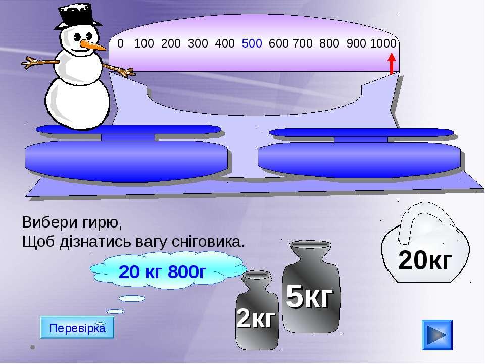 0 100 200 300 400 500 600 700 800 900 1000 Перевірка 20 кг 800г Вибери гирю, ...