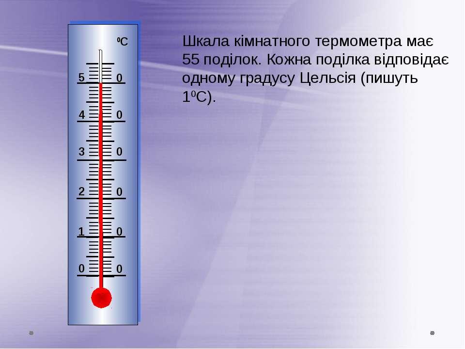 Шкала кімнатного термометра має 55 поділок. Кожна поділка відповідає одному г...