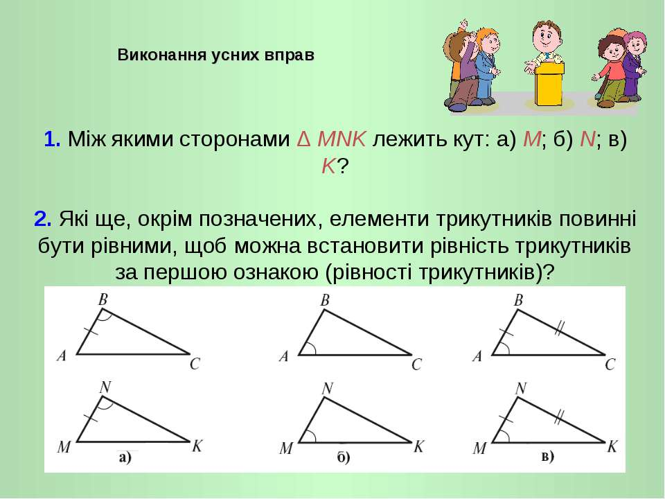 1. Між якими сторонами Δ MNK лежить кут: а) M; б) N; в) K? 2. Які ще, окрім п...