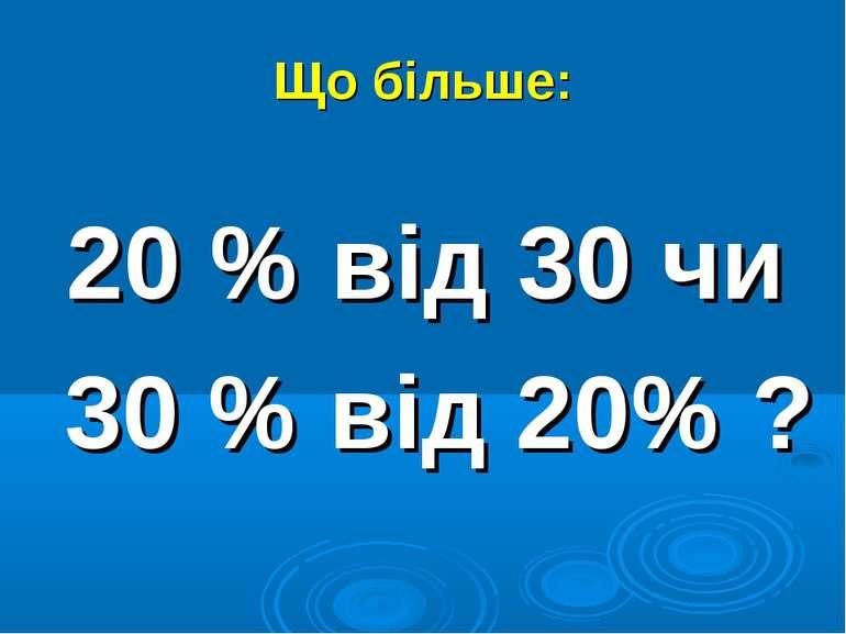 Що більше: 20 % від 30 чи 30 % від 20% ?