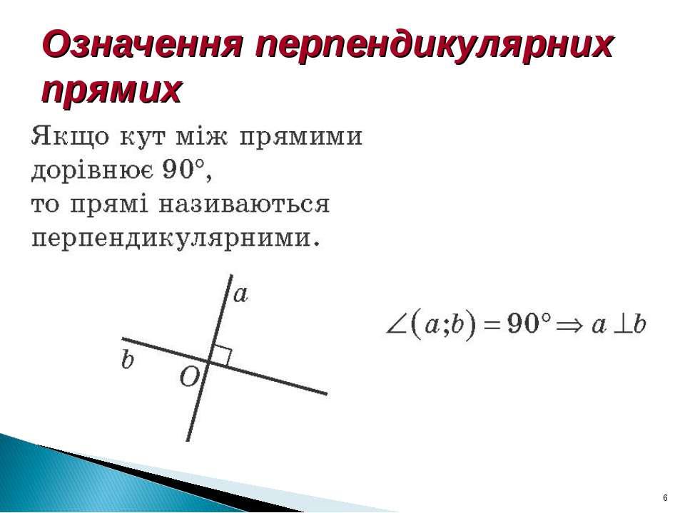 Означення перпендикулярних прямих