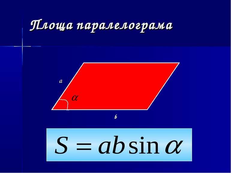 Площа паралелограма b a