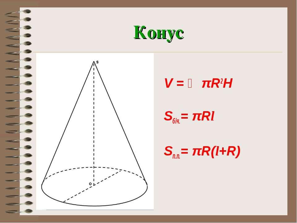 Конус V = ⅓πR2H Sбіч.= πRl Sп.п.= πR(l+R)