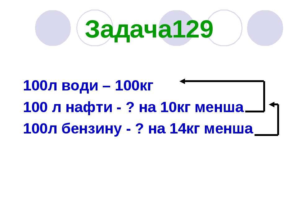 Задача129 100л води – 100кг 100 л нафти - ? на 10кг менша 100л бензину - ? на...