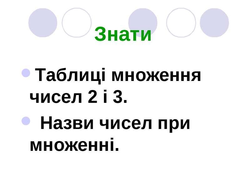 Знати Таблиці множення чисел 2 і 3. Назви чисел при множенні.