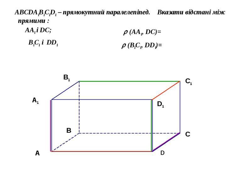 ABCDA1B1C1D1 – прямокутний паралелепіпед. Вказати відстані між прямими : AA1 ...