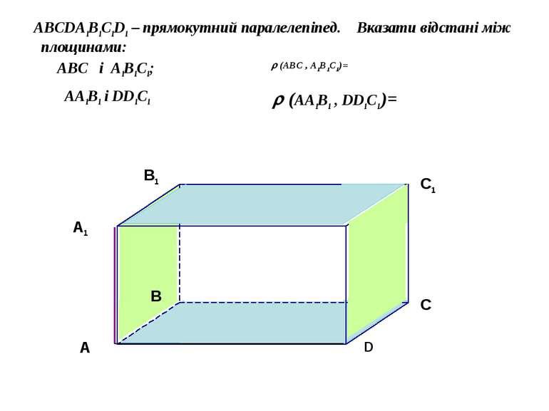 ABCDA1B1C1D1 – прямокутний паралелепіпед. Вказати відстані між площинами: ABC...