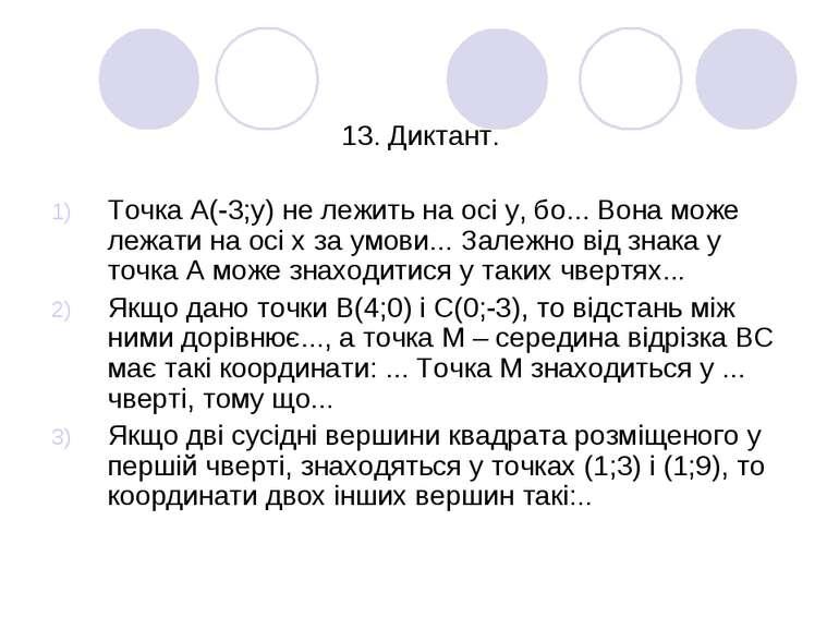 13. Диктант. Точка А(-3;у) не лежить на осі у, бо... Вона може лежати на осі ...