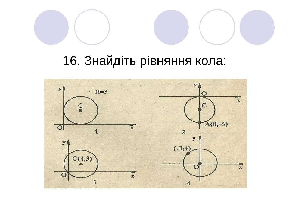 16. Знайдіть рівняння кола: