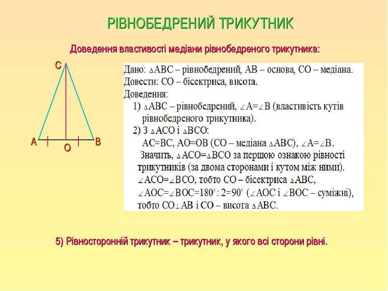 РІВНОБЕДРЕНИЙ ТРИКУТНИК Доведення властивості медіани рівнобедреного трикутни...