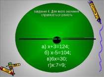 а) х+3=124; б) х-5=104; в)6х=30; г)х:7=9;