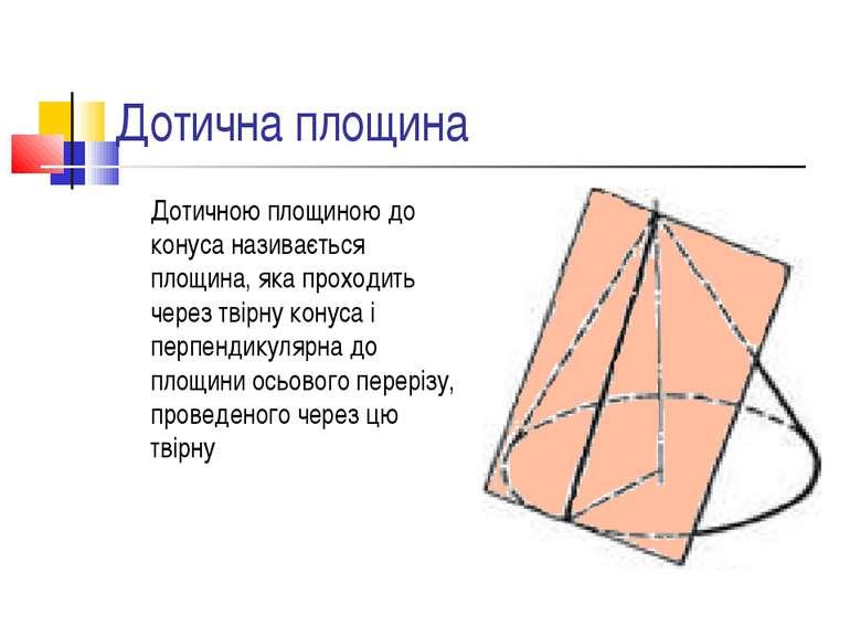 Дотична площина Дотичною площиною до конуса називається площина, яка проходит...