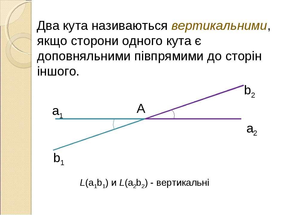 Два кута називаються вертикальними, якщо сторони одного кута є доповняльними ...