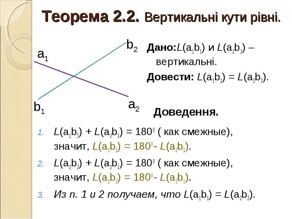 Теорема 2.2. Вертикальні кути рівні. L(а1b1) + L(a2b1) = 1800 ( как смежные),...